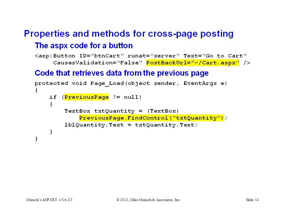 Murach's ASP.NET 4/C#, C3© 2011, Mike Murach & Associates, Inc.Slide 14