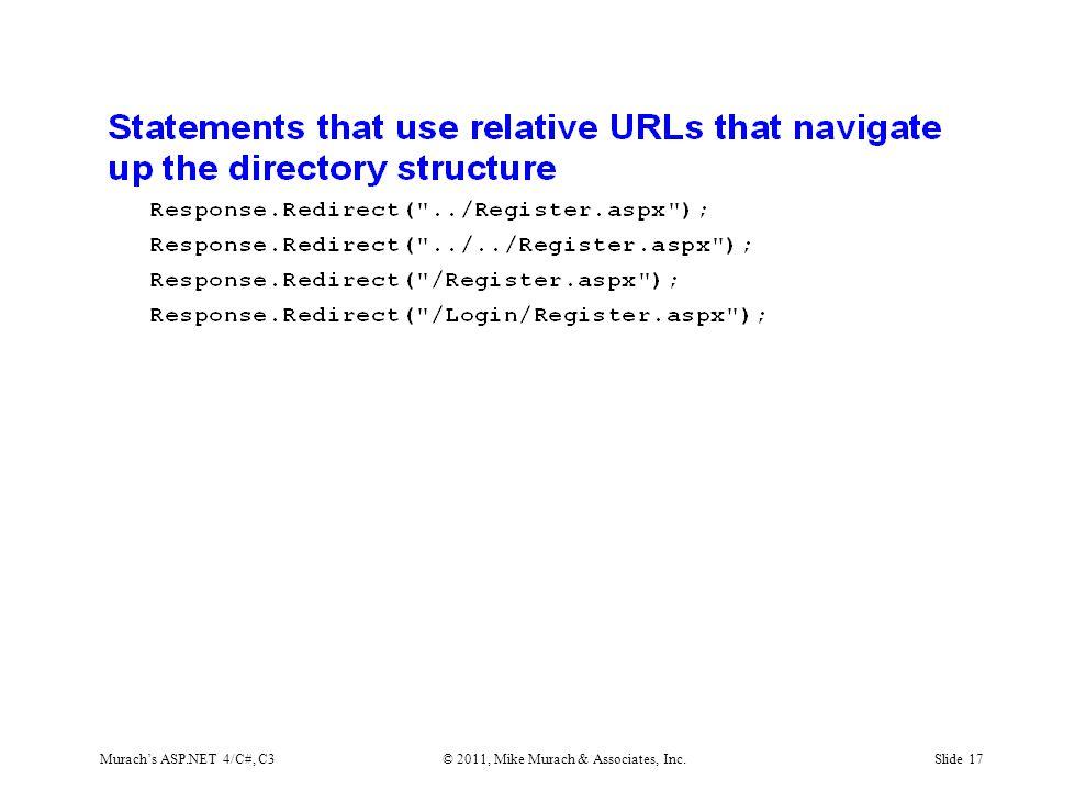 Murach's ASP.NET 4/C#, C3© 2011, Mike Murach & Associates, Inc.Slide 17