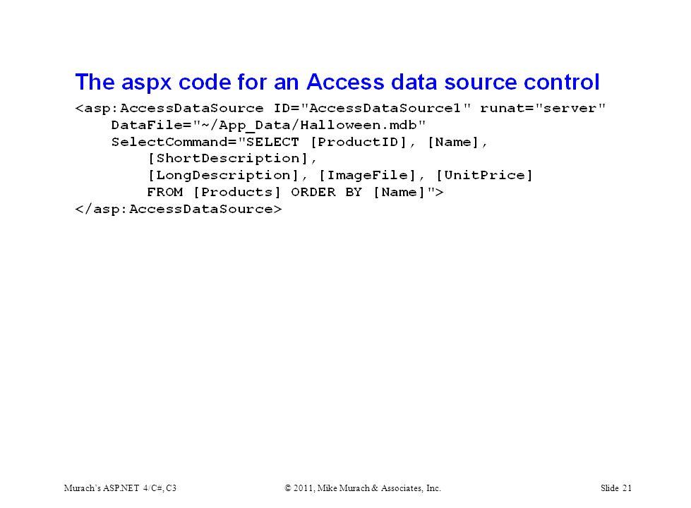 Murach's ASP.NET 4/C#, C3© 2011, Mike Murach & Associates, Inc.Slide 21