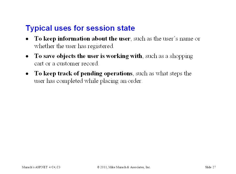 Murach's ASP.NET 4/C#, C3© 2011, Mike Murach & Associates, Inc.Slide 27
