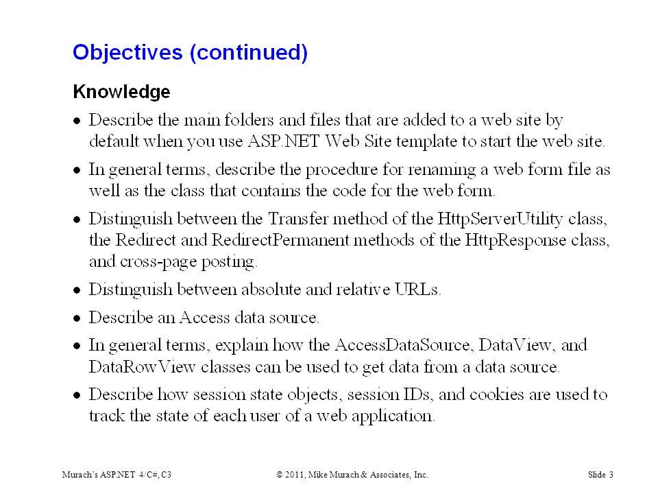 Murach's ASP.NET 4/C#, C3© 2011, Mike Murach & Associates, Inc.Slide 3