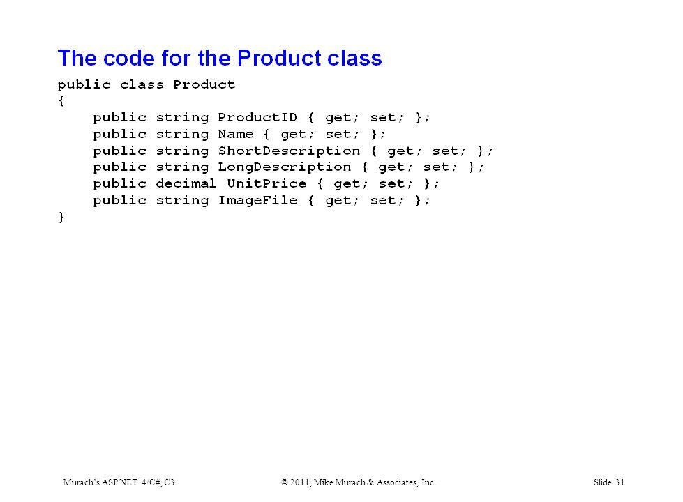 Murach's ASP.NET 4/C#, C3© 2011, Mike Murach & Associates, Inc.Slide 31
