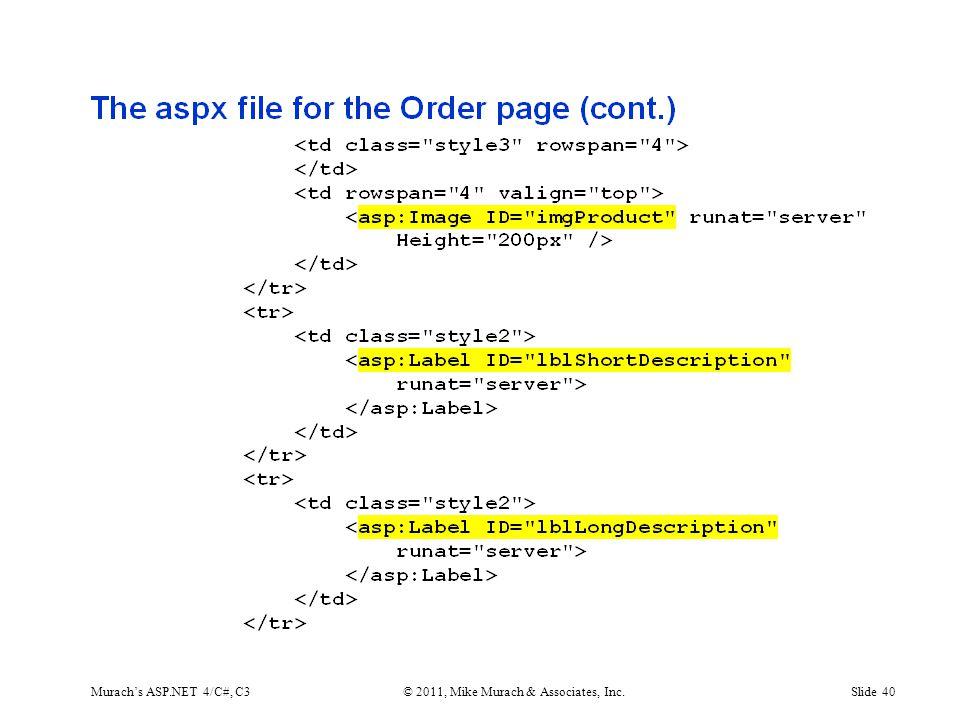 Murach's ASP.NET 4/C#, C3© 2011, Mike Murach & Associates, Inc.Slide 40
