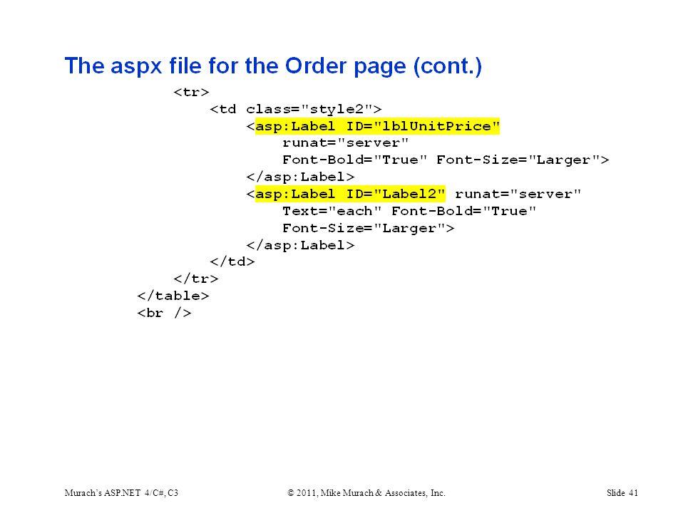 Murach's ASP.NET 4/C#, C3© 2011, Mike Murach & Associates, Inc.Slide 41