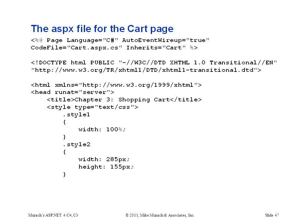 Murach's ASP.NET 4/C#, C3© 2011, Mike Murach & Associates, Inc.Slide 47
