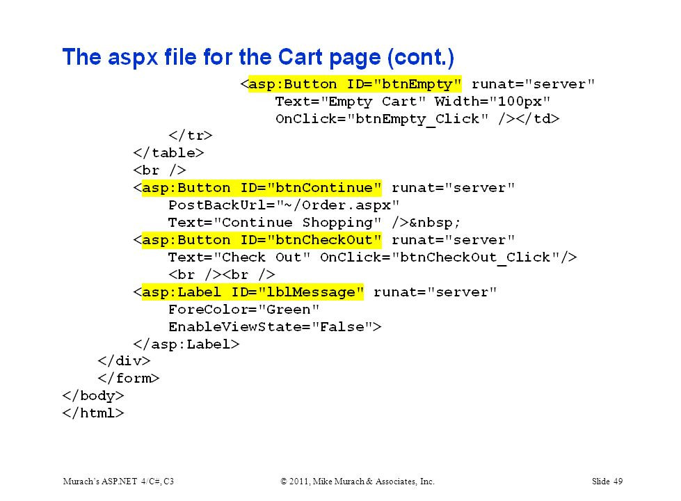 Murach's ASP.NET 4/C#, C3© 2011, Mike Murach & Associates, Inc.Slide 49