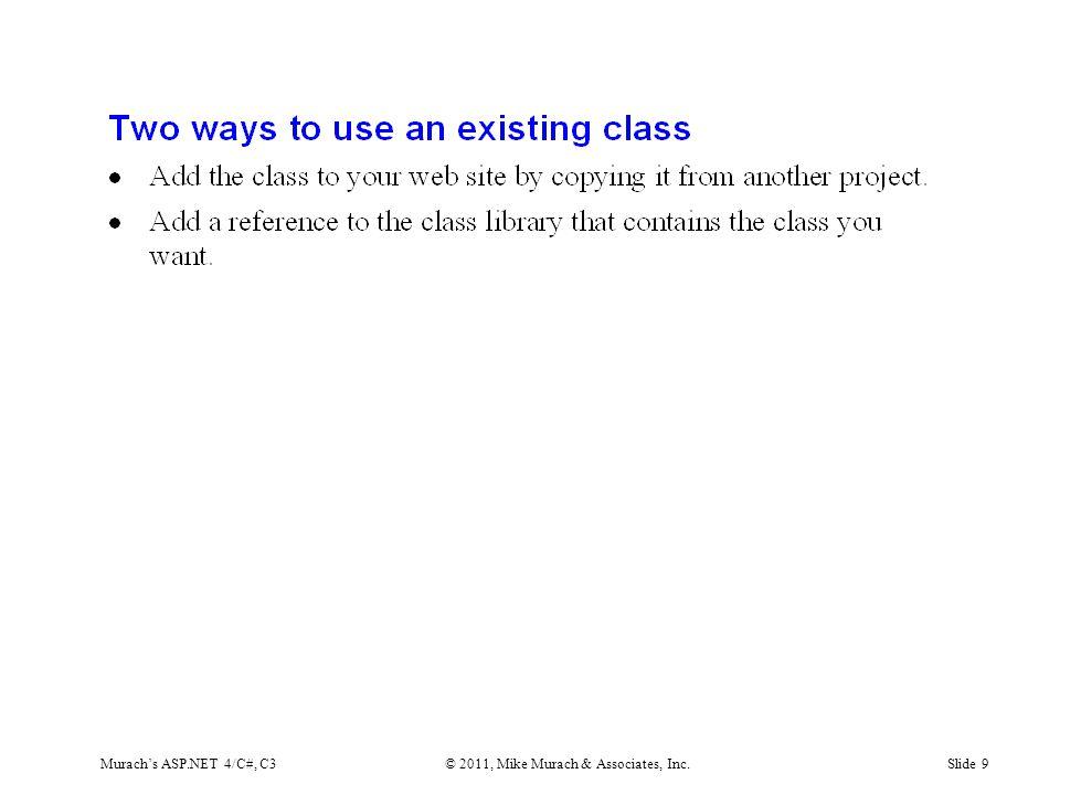 Murach's ASP.NET 4/C#, C3© 2011, Mike Murach & Associates, Inc.Slide 9