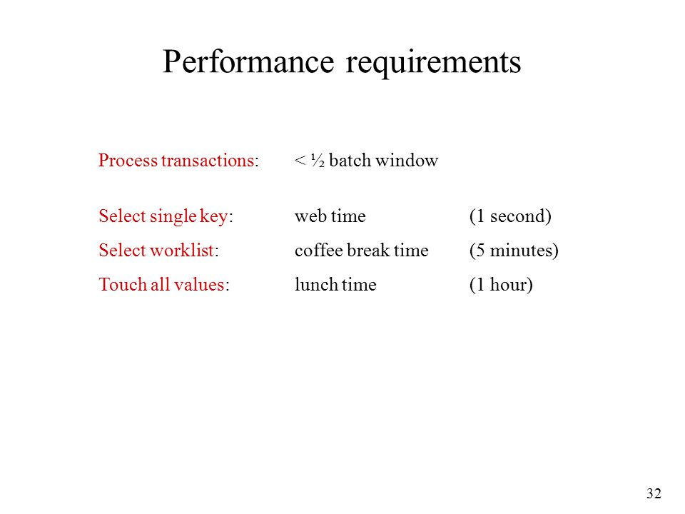 32 Performance requirements Process transactions:< ½ batch window Select single key:web time(1 second) Select worklist:coffee break time(5 minutes) Touch all values:lunch time(1 hour)