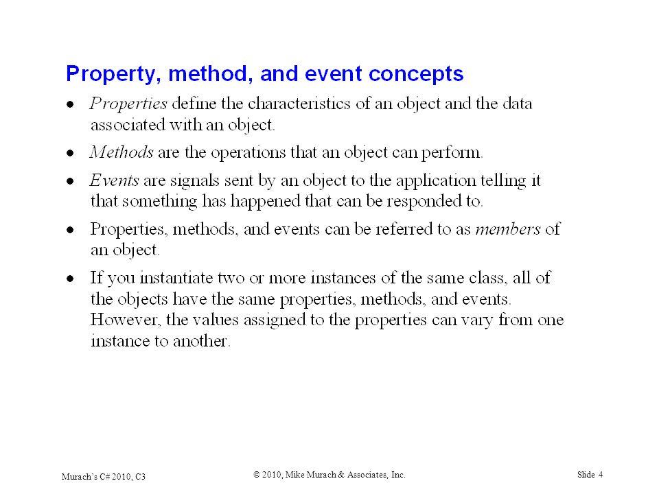 Murach's C# 2010, C3 © 2010, Mike Murach & Associates, Inc.Slide 4