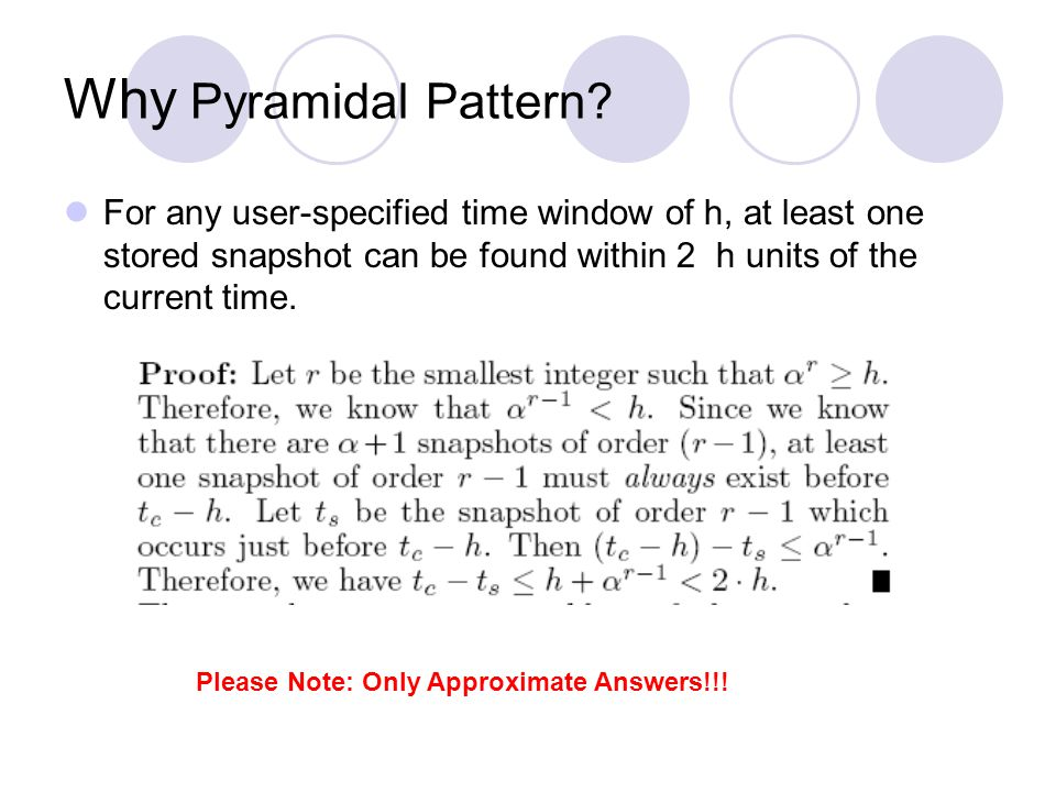 Why Pyramidal Pattern? For any user-specified time window of h, at least one stored snapshot can be found within 2 h units of the current time. Please