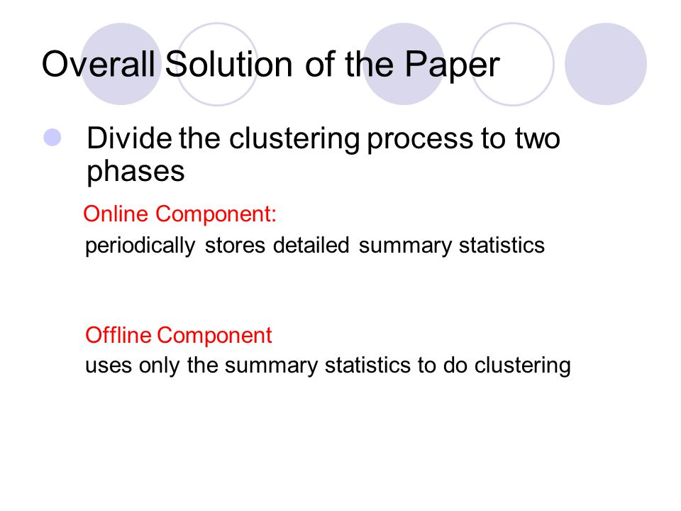 Overall Solution of the Paper Divide the clustering process to two phases Online Component: periodically stores detailed summary statistics Offline Co