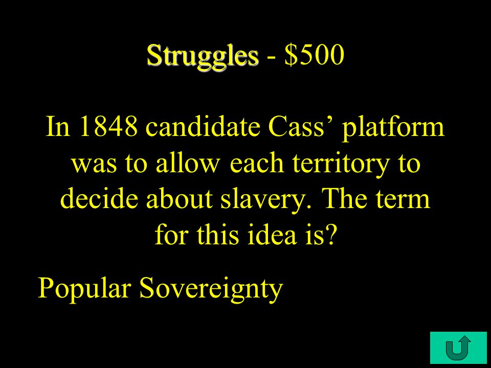 C3-$400 Struggles Struggles - $400 What did the political parties try to ignore in the 1848 presidential election.