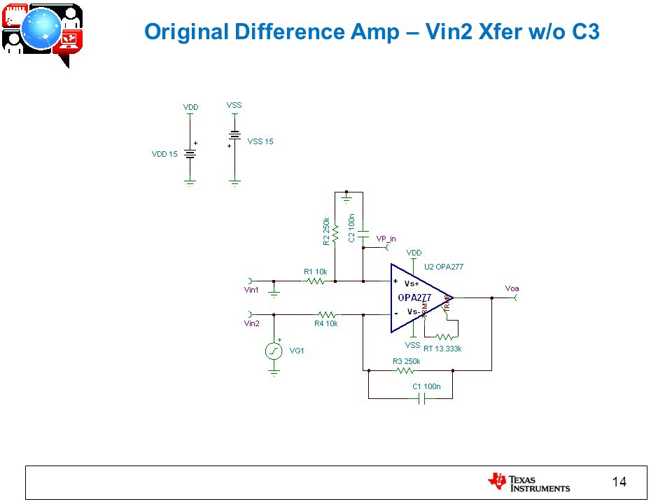 14 Original Difference Amp – Vin2 Xfer w/o C3