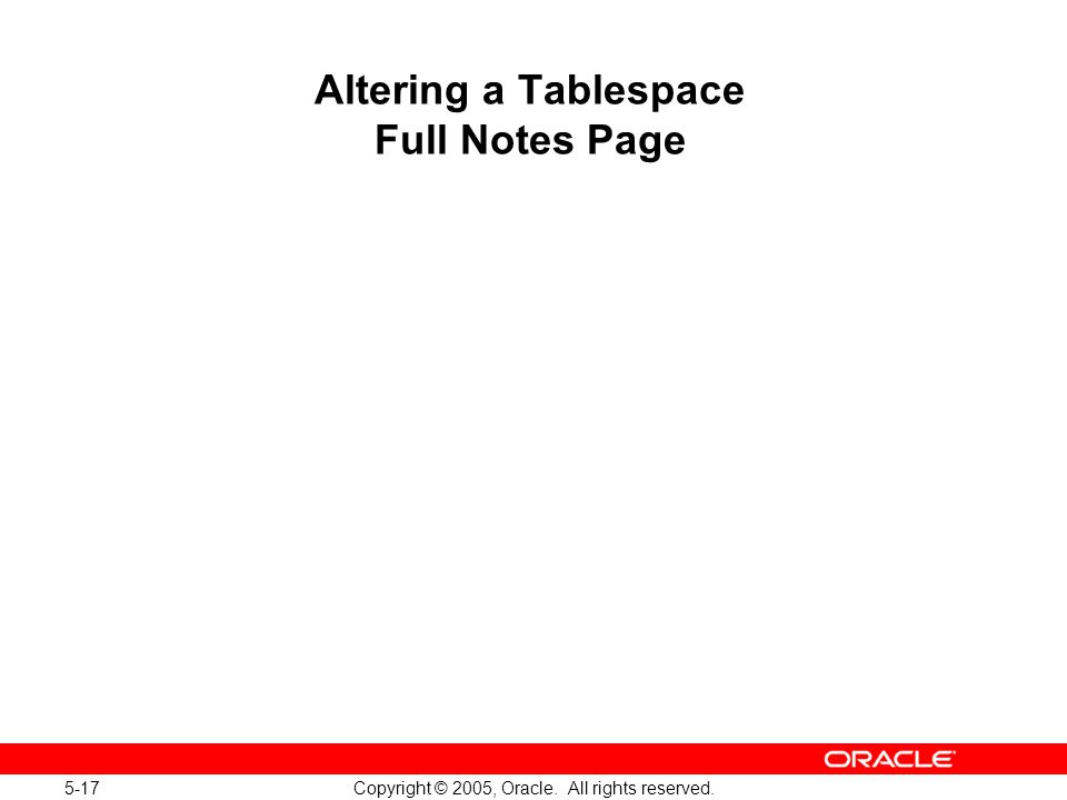5-17 Copyright © 2005, Oracle. All rights reserved. Altering a Tablespace Full Notes Page