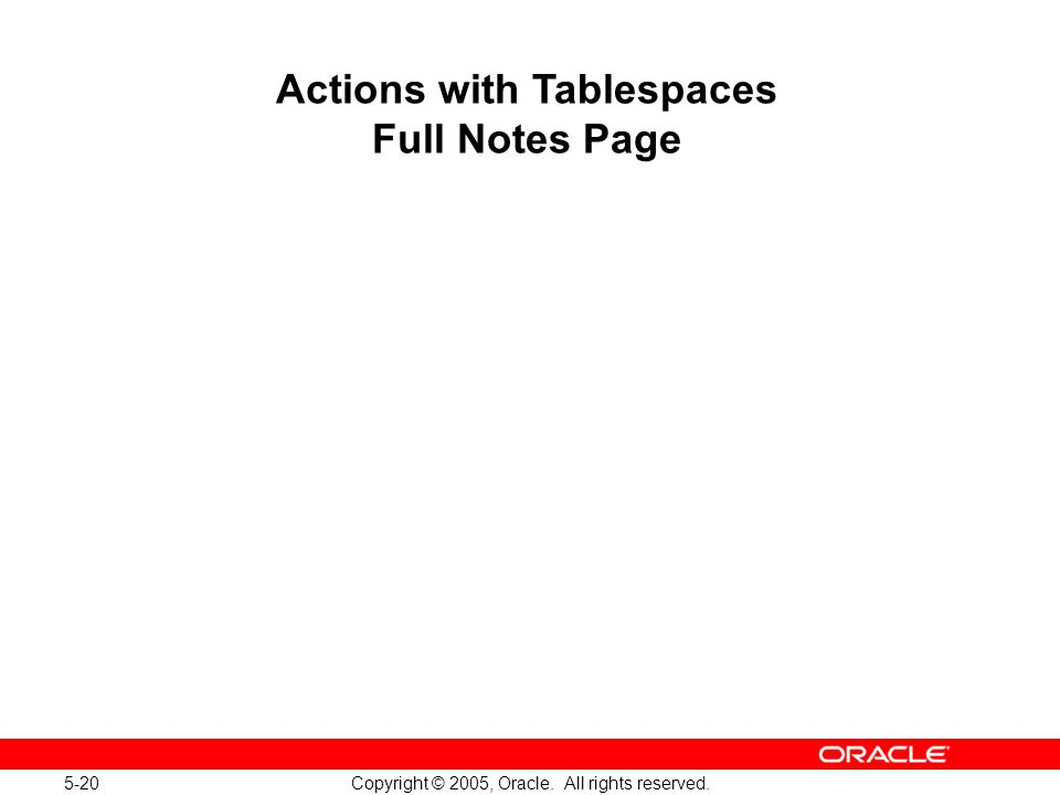 5-20 Copyright © 2005, Oracle. All rights reserved. Actions with Tablespaces Full Notes Page