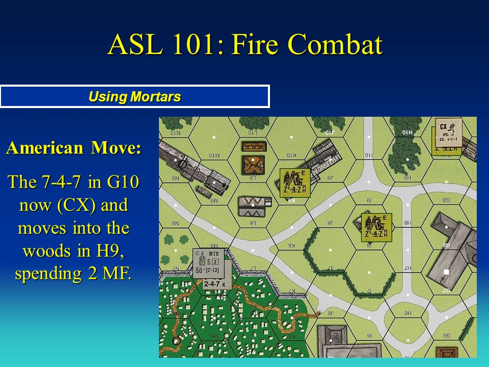 ASL 101: Fire Combat Using Mortars American Move: The 7-4-7 in G10 now (CX) and moves into the woods in H9, spending 2 MF.