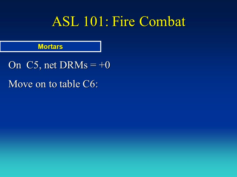 ASL 101: Fire Combat On C5, net DRMs = +0 Move on to table C6: Mortars