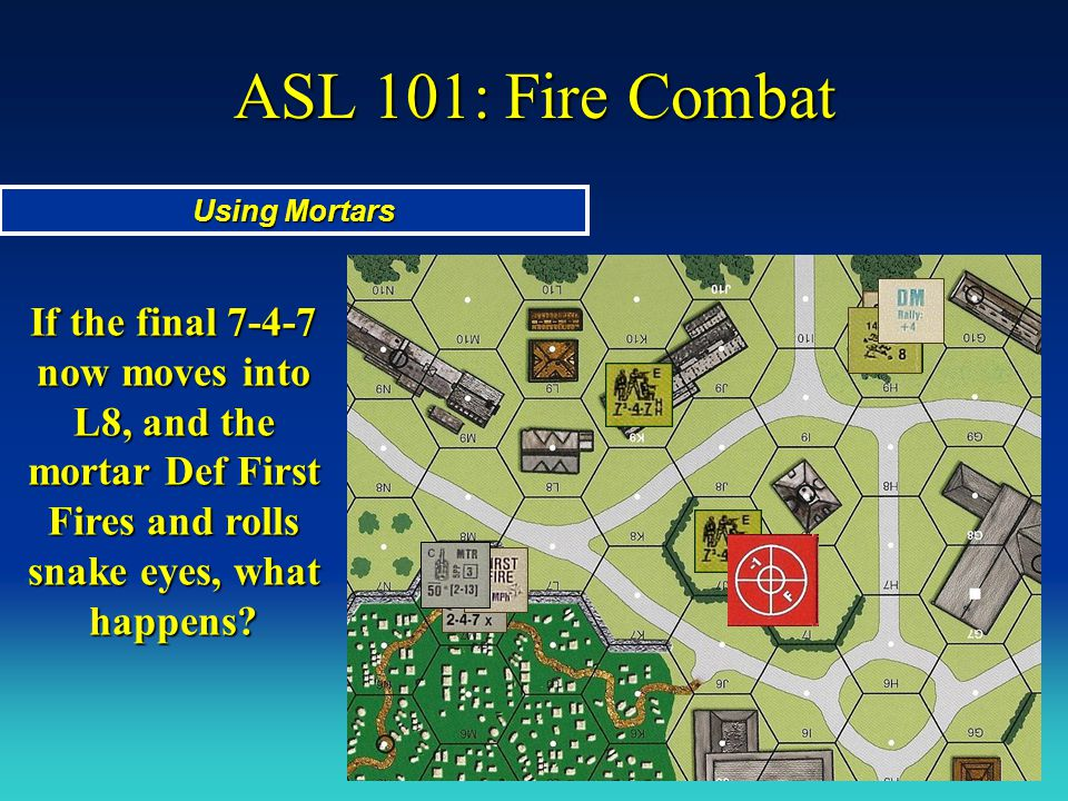 ASL 101: Fire Combat Using Mortars If the final 7-4-7 now moves into L8, and the mortar Def First Fires and rolls snake eyes, what happens?