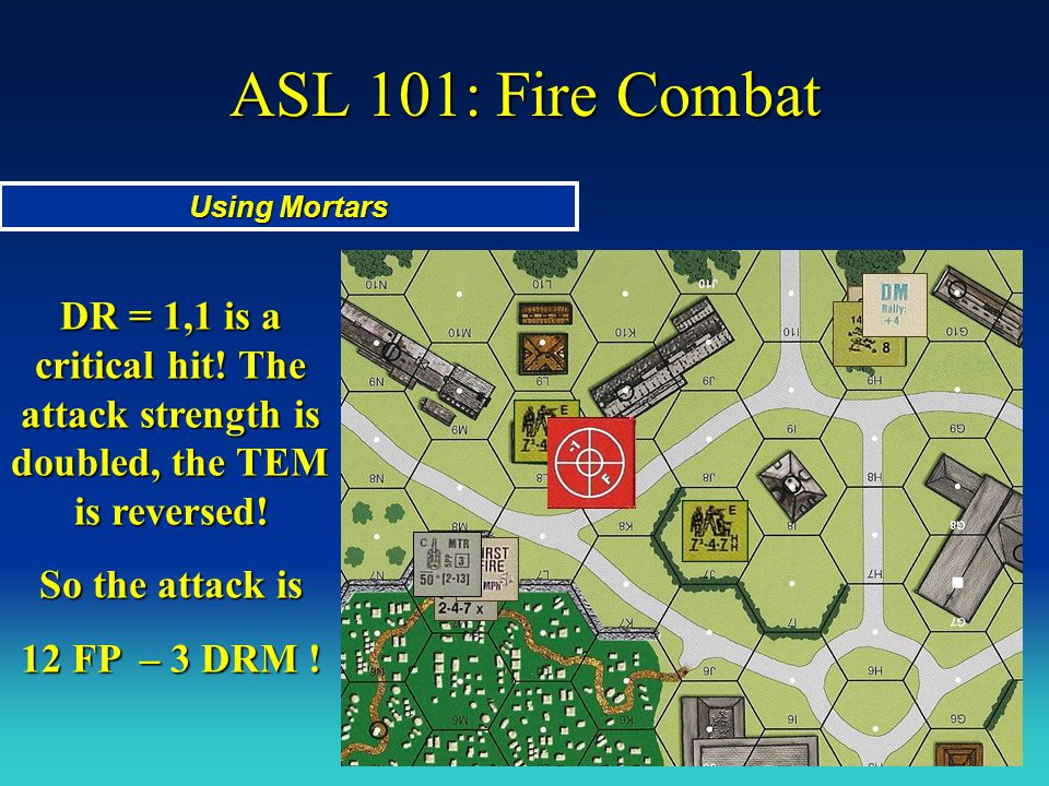 ASL 101: Fire Combat Using Mortars DR = 1,1 is a critical hit! The attack strength is doubled, the TEM is reversed! So the attack is 12 FP – 3 DRM !