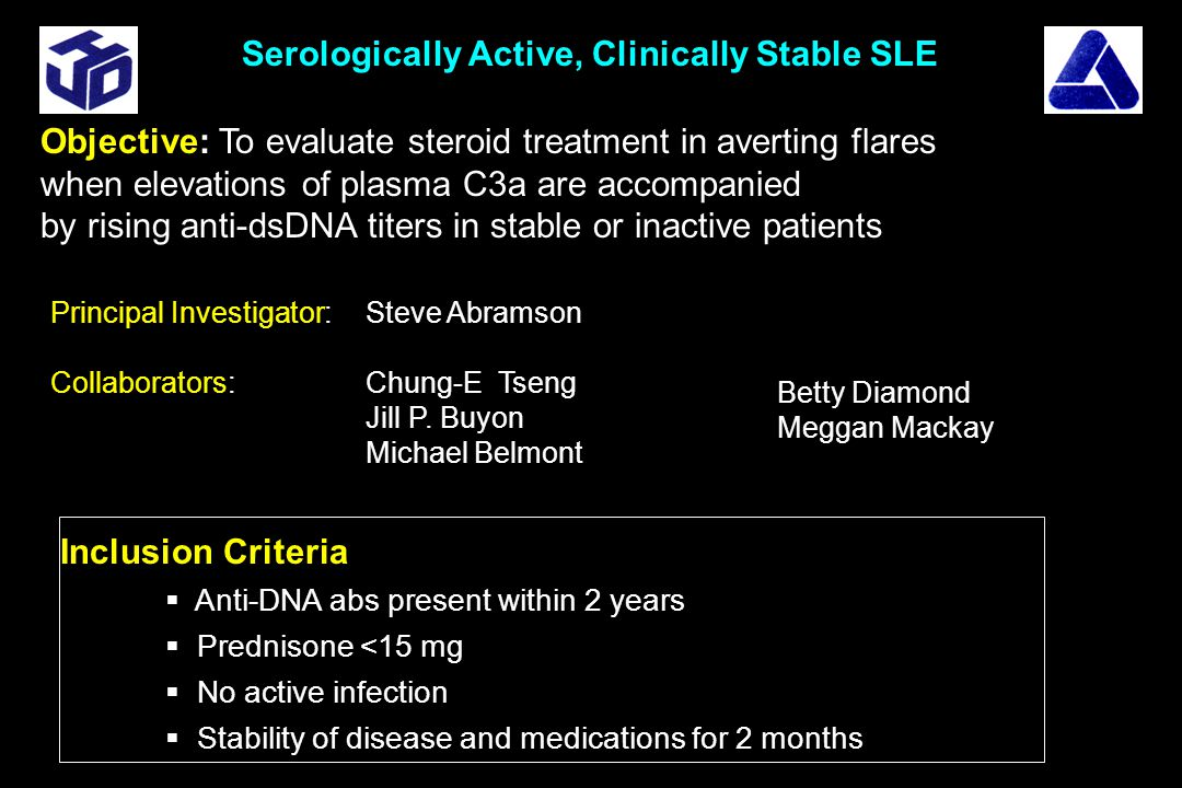 Inclusion Criteria  Anti-DNA abs present within 2 years  Prednisone <15 mg  No active infection  Stability of disease and medications for 2 months Serologically Active, Clinically Stable SLE Objective: To evaluate steroid treatment in averting flares when elevations of plasma C3a are accompanied by rising anti-dsDNA titers in stable or inactive patients Principal Investigator: Steve Abramson Collaborators: Chung-E Tseng Jill P.