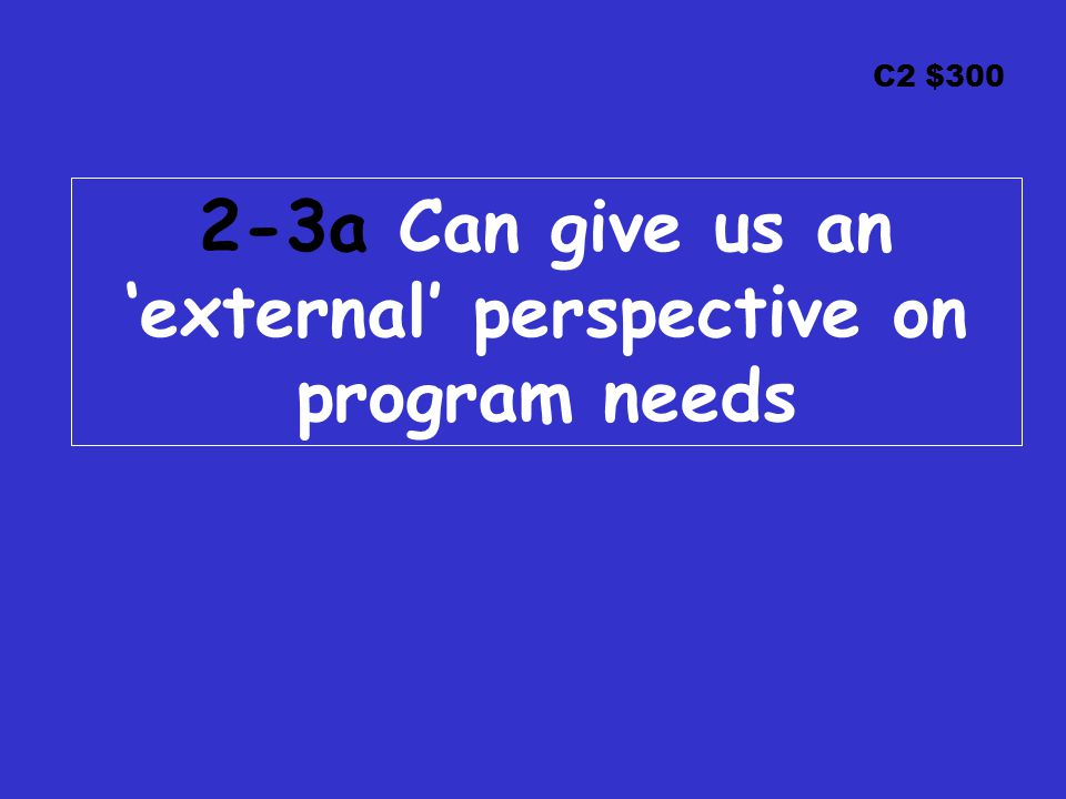 C2 $300 2-3a Can give us an 'external' perspective on program needs