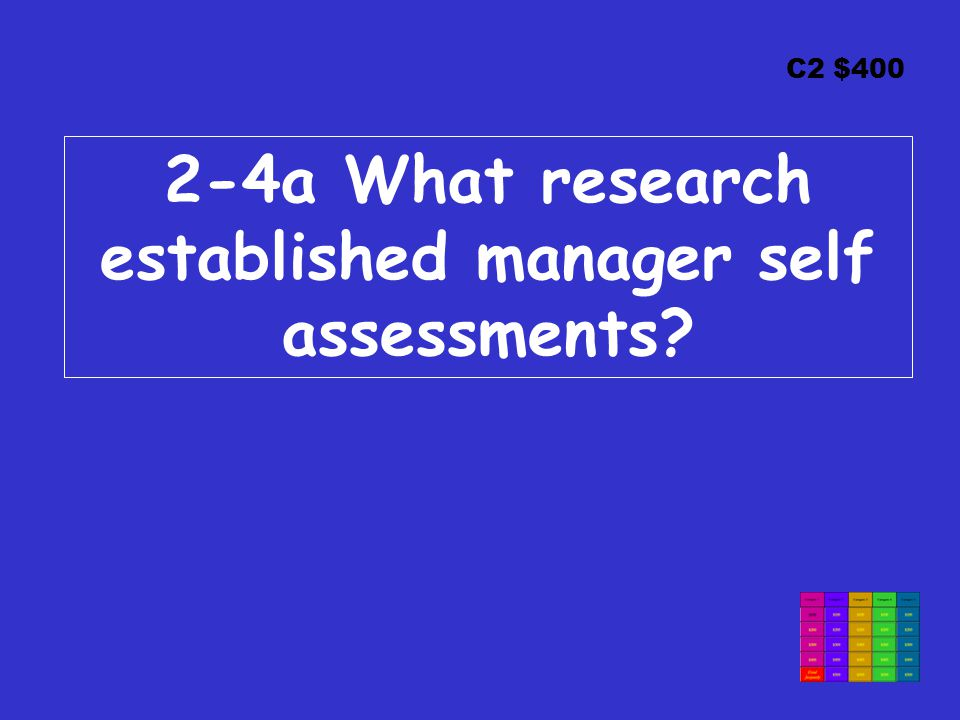 C2 $400 2-4a What research established manager self assessments