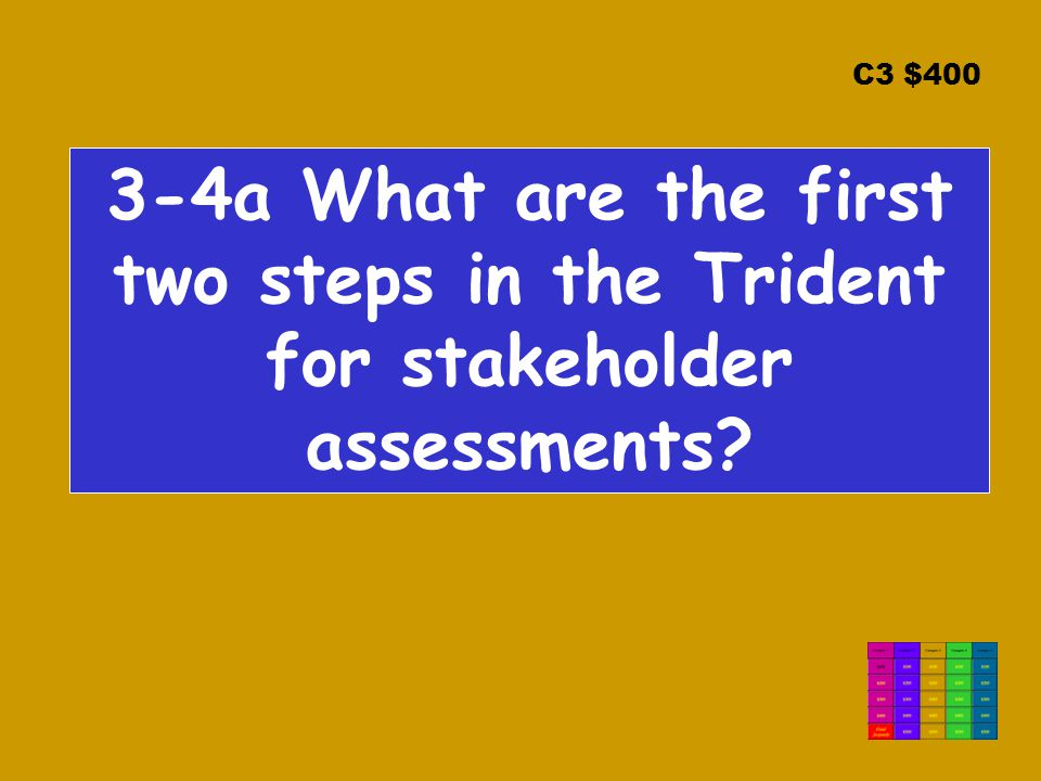 C3 $400 3-4a What are the first two steps in the Trident for stakeholder assessments