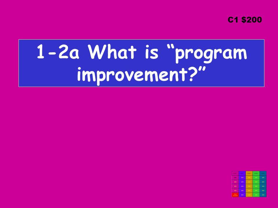 1-2a What is program improvement? C1 $200