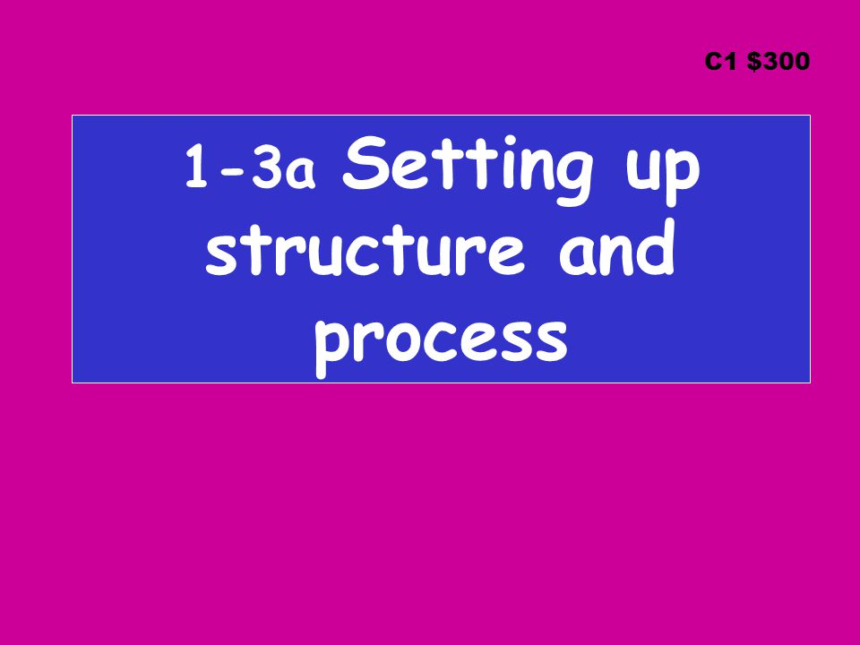 1-3a Setting up structure and process C1 $300