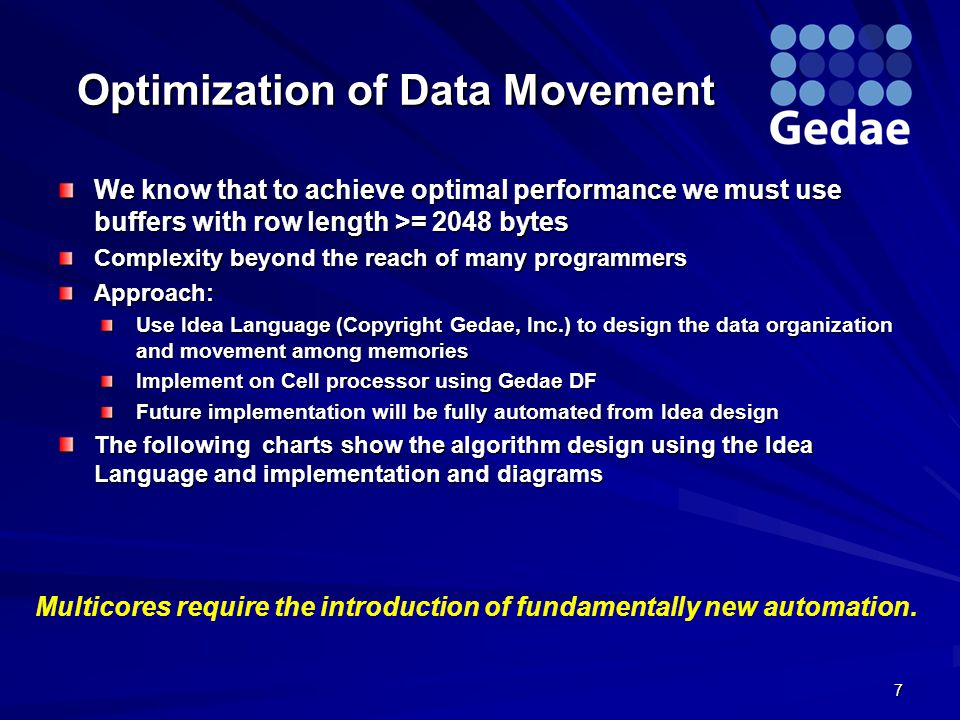 Optimization of Data Movement We know that to achieve optimal performance we must use buffers with row length >= 2048 bytes Complexity beyond the reach of many programmers Approach: Use Idea Language (Copyright Gedae, Inc.) to design the data organization and movement among memories Implement on Cell processor using Gedae DF Future implementation will be fully automated from Idea design The following charts show the algorithm design using the Idea Language and implementation and diagrams 7 Multicores require the introduction of fundamentally new automation.