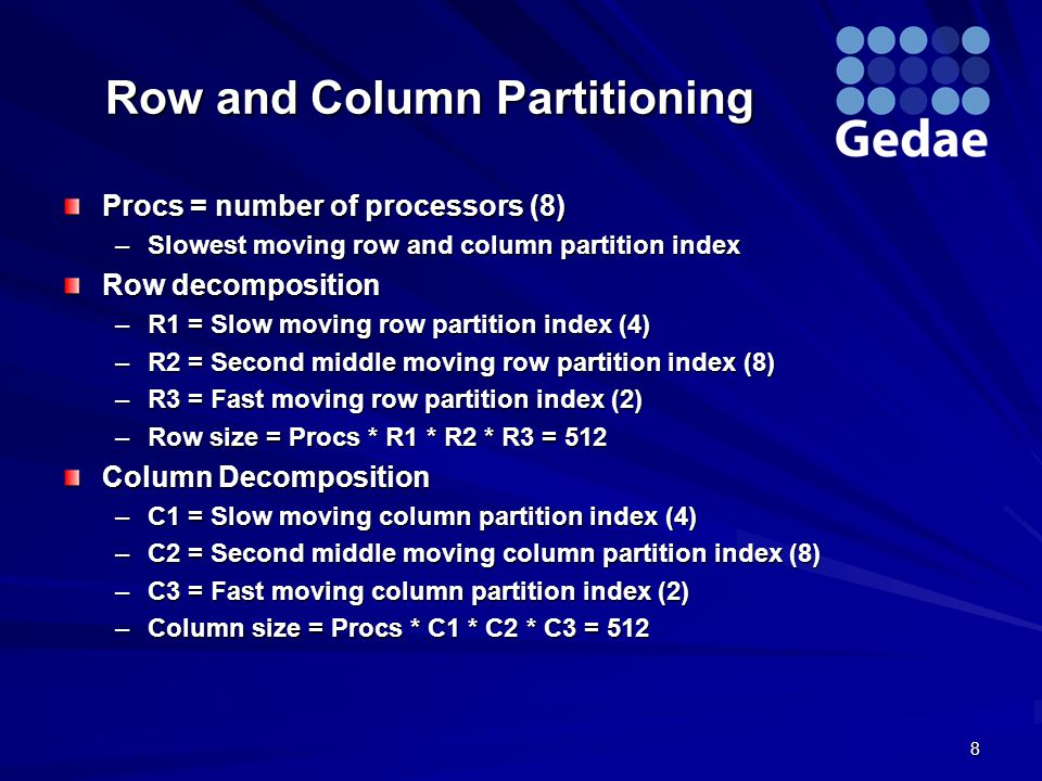 Row and Column Partitioning Procs = number of processors (8) –Slowest moving row and column partition index Row decomposition –R1 = Slow moving row partition index (4) –R2 = Second middle moving row partition index (8) –R3 = Fast moving row partition index (2) –Row size = Procs * R1 * R2 * R3 = 512 Column Decomposition –C1 = Slow moving column partition index (4) –C2 = Second middle moving column partition index (8) –C3 = Fast moving column partition index (2) –Column size = Procs * C1 * C2 * C3 = 512 8