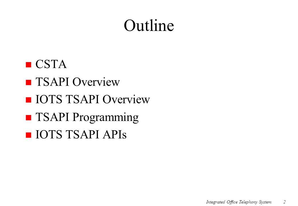 Integrated Office Telephony System2 Outline n CSTA n TSAPI Overview n IOTS TSAPI Overview n TSAPI Programming n IOTS TSAPI APIs