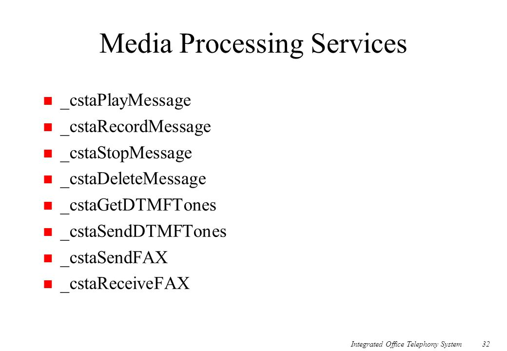 Integrated Office Telephony System32 Media Processing Services n _cstaPlayMessage n _cstaRecordMessage n _cstaStopMessage n _cstaDeleteMessage n _csta