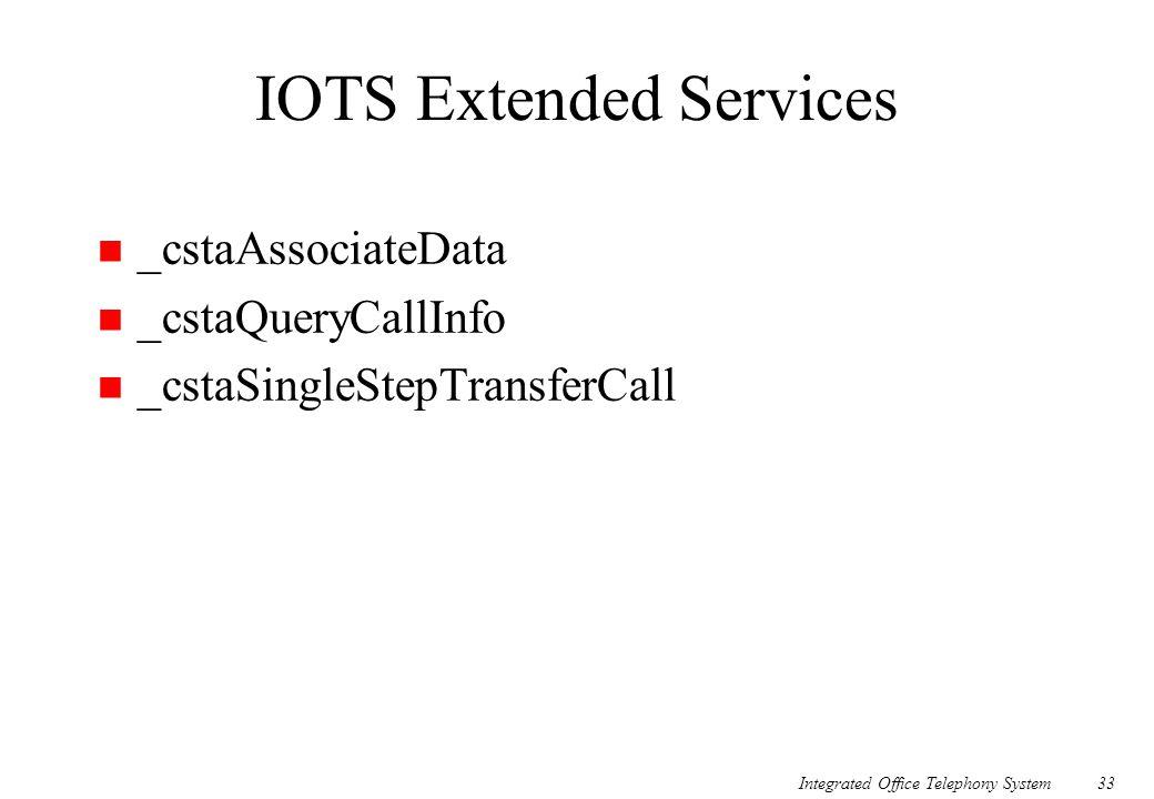 Integrated Office Telephony System33 IOTS Extended Services n _cstaAssociateData n _cstaQueryCallInfo n _cstaSingleStepTransferCall