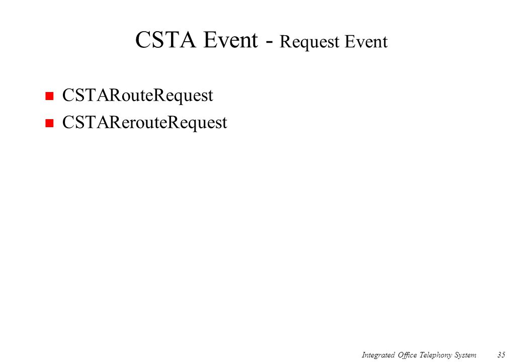 Integrated Office Telephony System35 CSTA Event - Request Event n CSTARouteRequest n CSTARerouteRequest