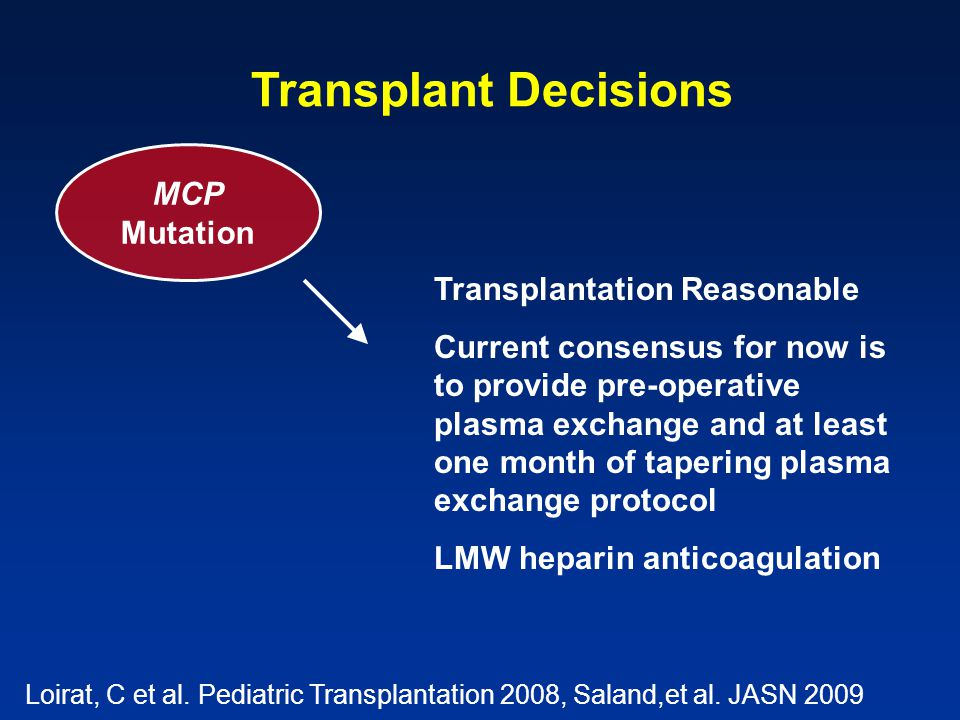 Transplant Decisions MCP Mutation Transplantation Reasonable Current consensus for now is to provide pre-operative plasma exchange and at least one month of tapering plasma exchange protocol LMW heparin anticoagulation Loirat, C et al.
