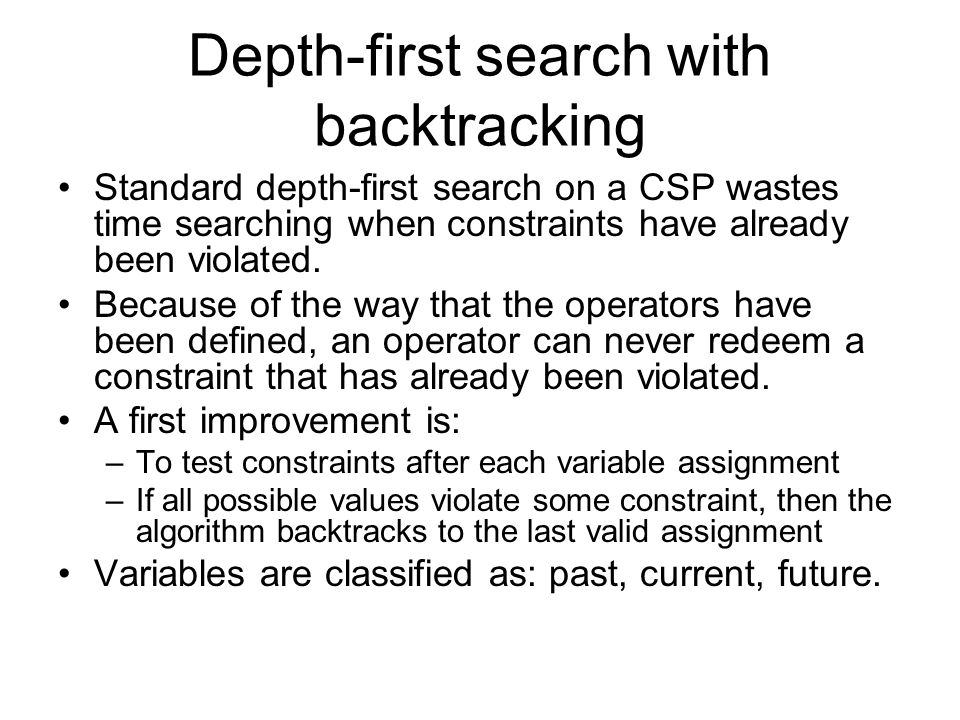 Depth-first search with backtracking Standard depth-first search on a CSP wastes time searching when constraints have already been violated. Because o