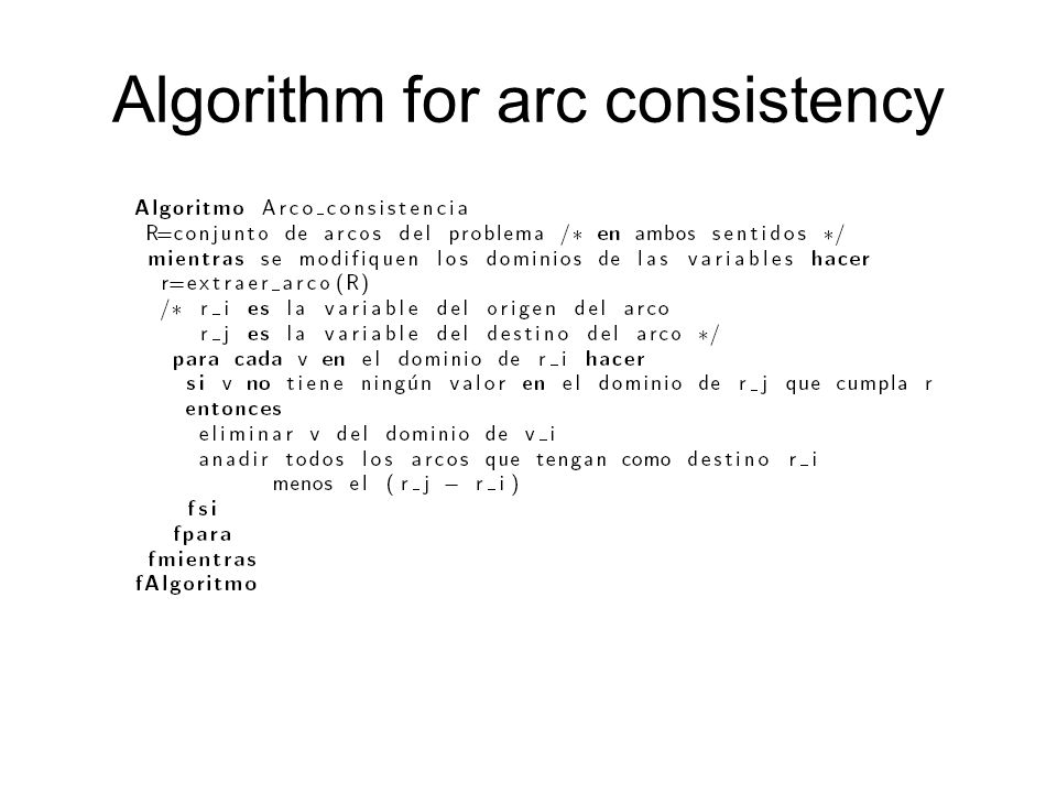 Algorithm for arc consistency