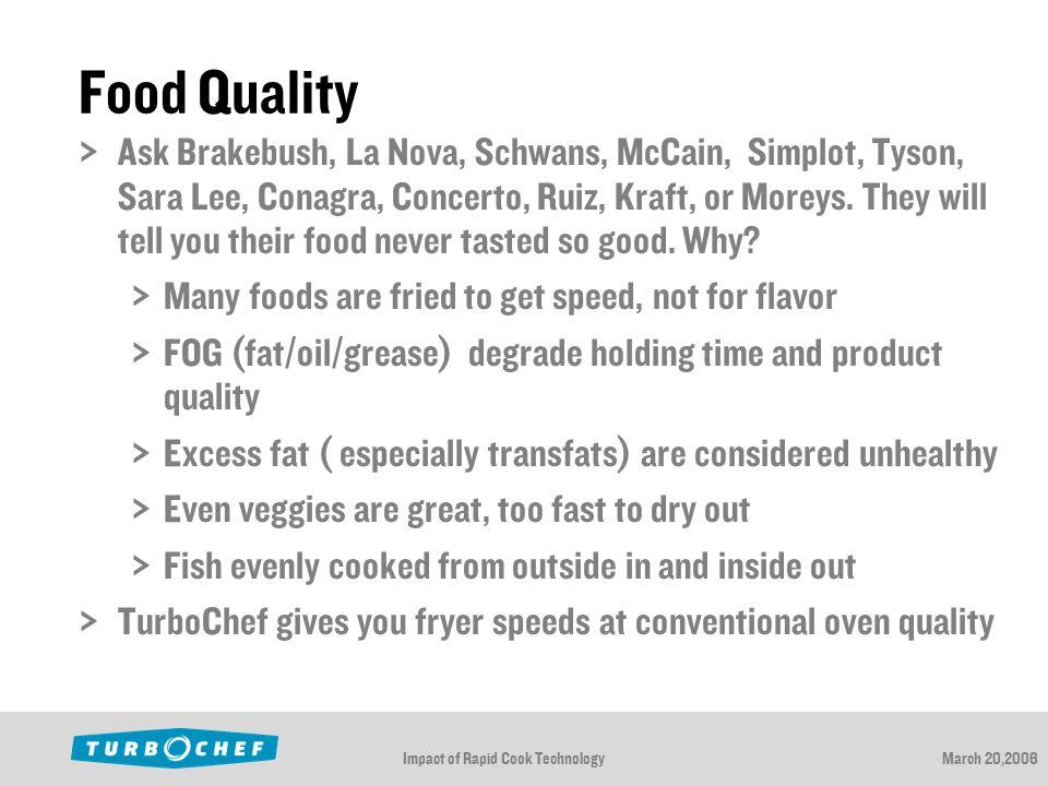 Impact of Rapid Cook TechnologyMarch 20,2006 Food Quality  Ask Brakebush, La Nova, Schwans, McCain, Simplot, Tyson, Sara Lee, Conagra, Concerto, Ruiz, Kraft, or Moreys.