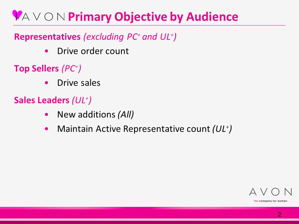 2 Primary Objective by Audience Representatives (excluding PC + and UL + ) Drive order count Top Sellers (PC + ) Drive sales Sales Leaders (UL + ) New