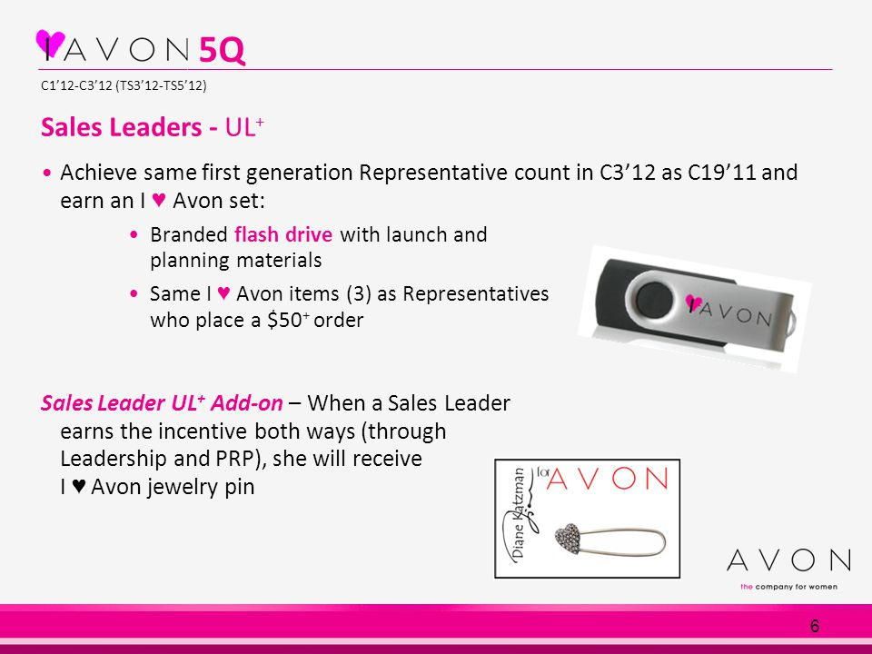 6 C1'12-C3'12 (TS3'12-TS5'12) Sales Leaders - UL + Achieve same first generation Representative count in C3'12 as C19'11 and earn an I ♥ Avon set: Bra