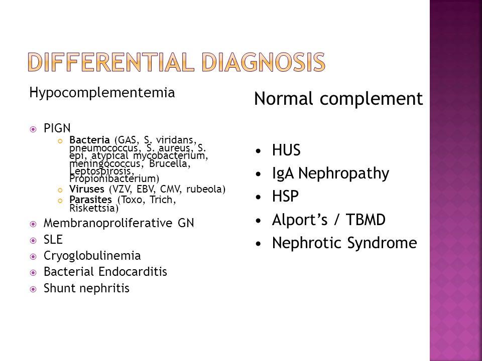 Hypocomplementemia  PIGN Bacteria (GAS, S. viridans, pneumococcus, S.