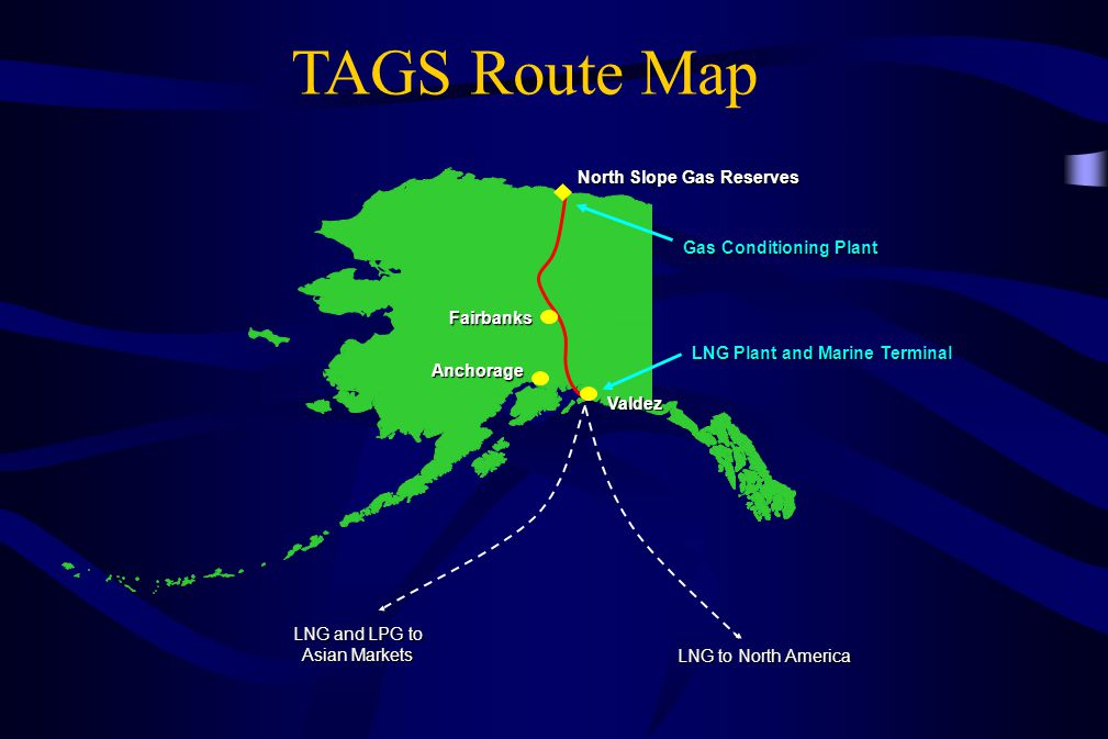 North Slope Gas Reserves Gas Conditioning Plant LNG Plant and Marine Terminal Valdez Anchorage Fairbanks LNG and LPG to Asian Markets LNG to North Ame