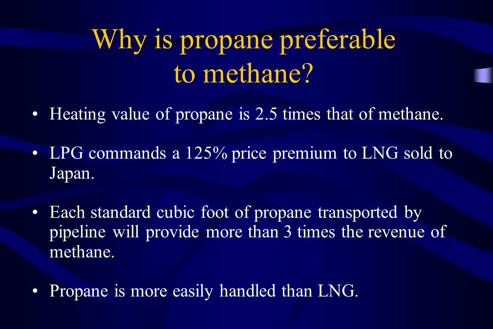 Why is propane preferable to methane? Heating value of propane is 2.5 times that of methane. LPG commands a 125% price premium to LNG sold to Japan. E