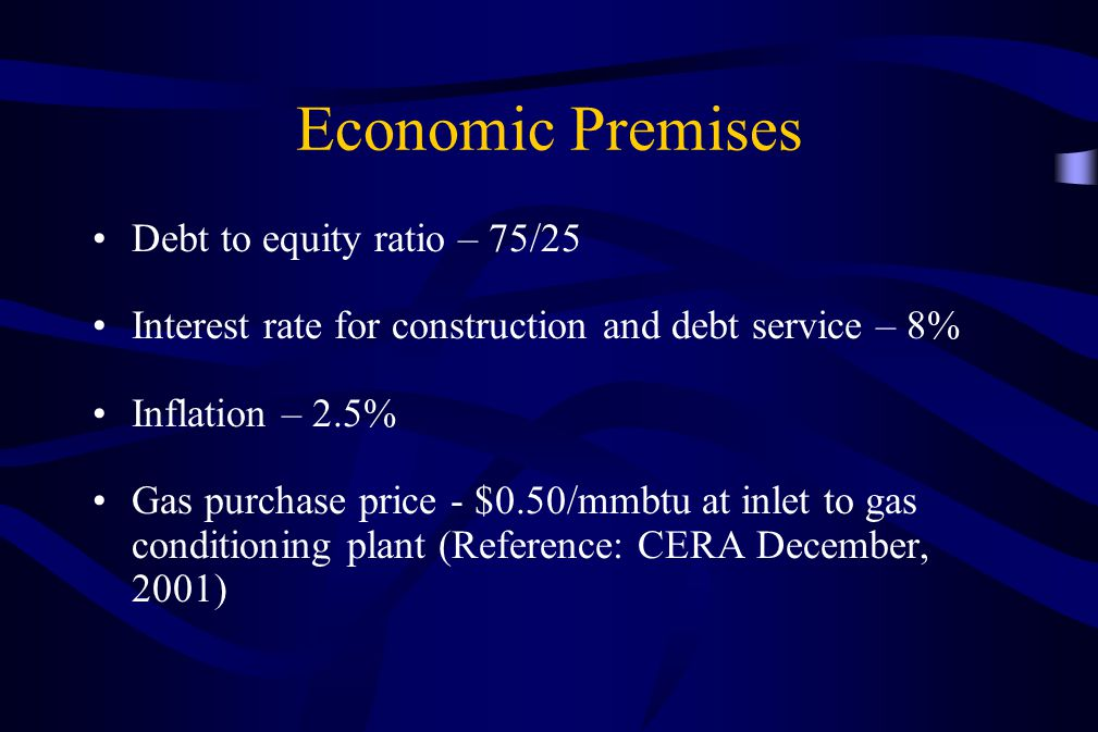 Economic Premises Debt to equity ratio – 75/25 Interest rate for construction and debt service – 8% Inflation – 2.5% Gas purchase price - $0.50/mmbtu