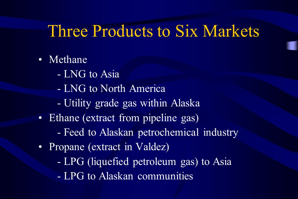 Three Products to Six Markets Methane - LNG to Asia - LNG to North America - Utility grade gas within Alaska Ethane (extract from pipeline gas) - Feed