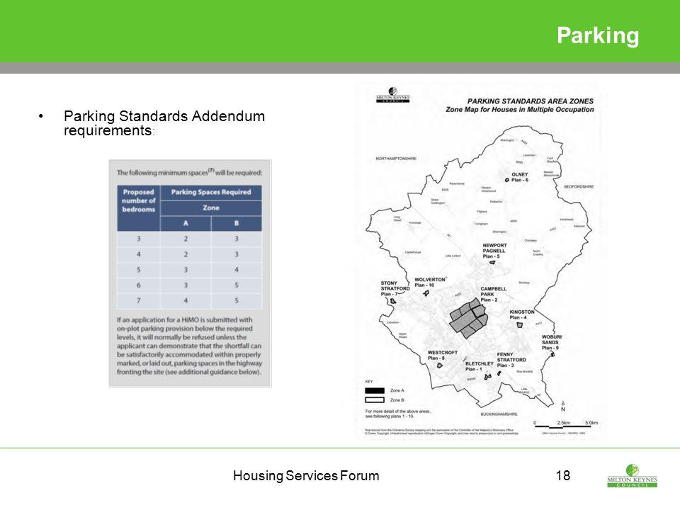 Housing Services Forum18 Parking Parking Standards Addendum requirements :