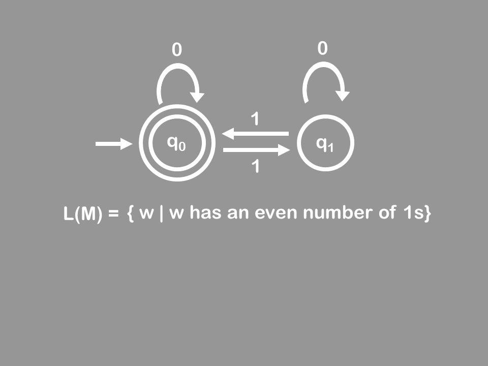 q0q0 q1q1 0 0 1 1 L(M) = { w | w has an even number of 1s}