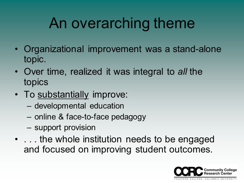 An overarching theme Organizational improvement was a stand-alone topic.