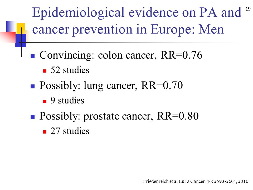 19 Epidemiological evidence on PA and cancer prevention in Europe: Men Convincing: colon cancer, RR=0.76 52 studies Possibly: lung cancer, RR=0.70 9 s